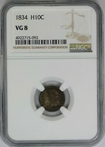 1834 NGC H10C SILVER CAPPED BUST HALF DIME VG8 GOOD US COIN