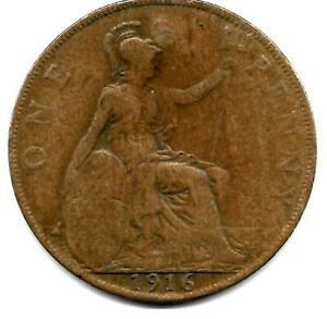 GREAT BRITAIN ONE PENNY 1916 COIN   YOU GRADE .
