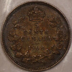 CANADA 1903 5 CENT PIECE ICCS GRADED EF 40 TONED