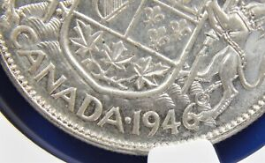 1946 CANADA SILVER FIFTY CENTS NGC AU 58 50C