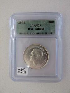 1941 CANADA SILVER 50C GRADED MS62 BY ICG  WIDE DATE
