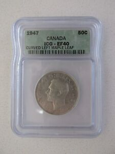 1947 CANADA SILVER 50C GRADED EF40 BY ICG  CURVED LEFT MAPLE LEAF
