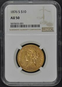 Click now to see the BUY IT NOW Price! 1876 S EAGLE   MOTTO $10 NGC AU50
