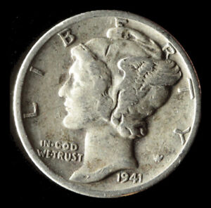 1941 D MERCURY 90  SILVER DIME SHIPS FREE. BUY 5 FOR $2 OFF