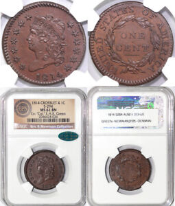 Click now to see the BUY IT NOW Price! 1814 1C S 294 CROSSLET 4 CLASSIC HEAD LARGE CENT NGC AND CAC MS 61 BN EX; COL. G