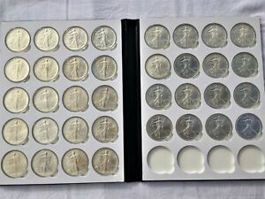 Click now to see the BUY IT NOW Price! 1986   2021 COMPLETE SET SILVER AMERICAN EAGLES   BU IN BOOK WITH AIRTITES