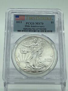 Click now to see the BUY IT NOW Price! 2011 SILVER EAGLE FIRST STRIKE PCGS MS70 25TH ANNIVERSARY SET