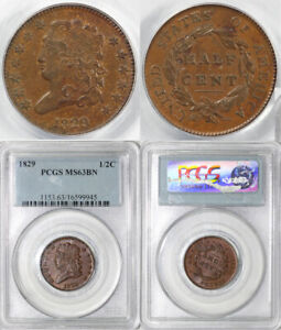 1829 1/2C C 1 CLASSIC HEAD HALF CENT PCGS MS 63 BN  EARLIER DIE STATE