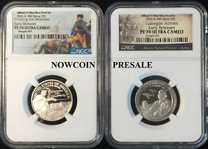 Click now to see the BUY IT NOW Price! 2021 S NGC PF70 TUSKEGEE & WASH CROSSING .999 SILVER PROOF 2 COINS ER PRESALE