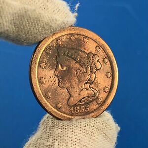 1855 BRAIDED HAIR HALF CENT 1/2C BETTER PHILADELPHIA EARLY AMERICAN COPPER COIN