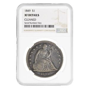 1849 SEATED LIBERTY SILVER DOLLAR $1 COIN NGC XF DETAILS