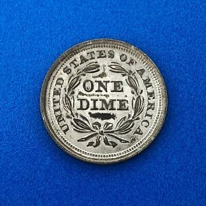 1853 P SEATED LIBERTY SILVER DIME NO MOTTO WITH ARROWS AND STARS AU DETAILS