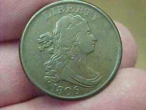 NICE 1806 DRAPED BUST HALF CENT FULL RIM DATE LIBERTY WREATH BUST 215 YEARS OLD