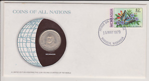 1979 COINS OF ALL NATIONS COVER   NICARAGUA 1972 1 CORDOBA COIN & C$2 STAMP CTO