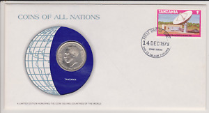 1979 COINS OF ALL NATIONS COVER   1980 TANZANIA 1 SHILLING COIN AND 1/  STAMP