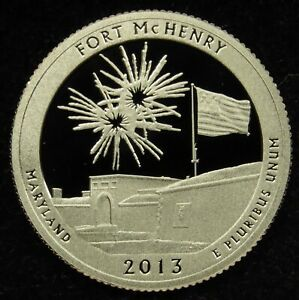 2013 S DEEP CAMEO CLAD PROOF AMERICA THE BEAUTIFUL FORT MCHENRY QUARTER  C01