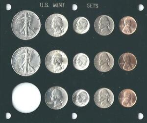 1947 P D S US MINT SET 14 COINS  BRILLIANT UNCIRCULATED IN BLACK CAPITAL HOLDER