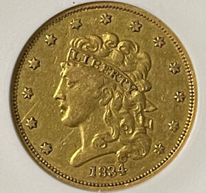 GOLD COINS US: 1834 $5 GOLD COIN CERTIFIED ANACS EF DETAILS NET VF 30