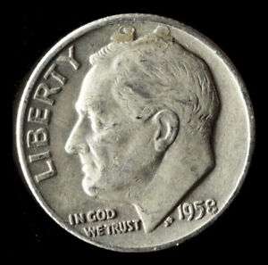 1958 D ROOSEVELT 90  SILVER DIME SHIPS FREE. BUY 5 FOR $2 OFF