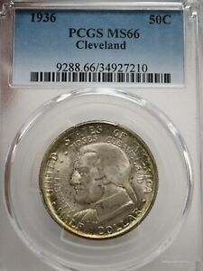 1936 CLEVELAND 50C PCGS MS 66 EARLY SILVER COMMEMORATIVE HALF DOLLAR  7210