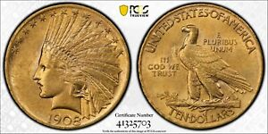 1908 INDIAN HEAD GOLD $10 EAGLE WITH MOTTO PCGS AU58