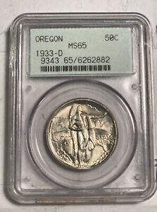CLASSIC OREGON TRAIL MEMORIAL 1933 D PCGS MS 65   OLD HOLDER