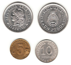 1950 1956 1958 1960  ARGENTINA 5 &10 CENTAVOS AND 1 PESO. 4 COIN LOT.