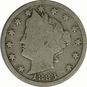 1883 WITH CENTS 5C LIBERTY V NICKEL RAW CIRCULATED US COIN