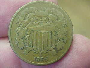 1865 2 TWO CENT PIECE FULL RIM DATE LETTERING WREATH SHIELD TONED CURVED TOP 5