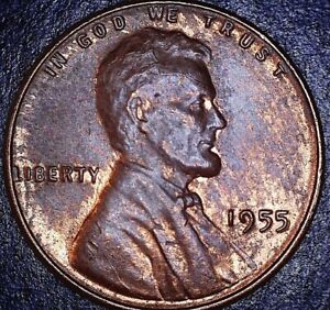 1955 LINCOLN WHEAT CENT ERROR  OBV/DIE CRACK SCALP  REV CUDS MANY   BU / MS
