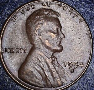 1954 S LINCOLN WHEAT CENT ERROR  OBV LIBERTY HUGE CUD    MS  ERROR BEAUTY
