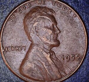 1955 P LINCOLN WHEAT CENT ERROR  REV WHEAT MAJOR CUD / OBV SCALP MAJOR DIE CRACK