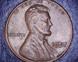 1957 LINCOLN WHEAT CENT ERROR  OBV DATE GREAT CUD ERROR SCALP
