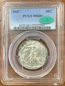 1947 WALKING LIBERTY HALF DOLLAR PCGS MS66  CAC NICE COIN