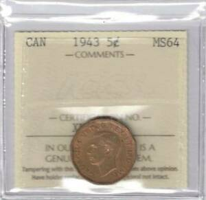 1943 CANADA 5 CENT BUSINESS STRIKE TOMBAC ICCS MS 64
