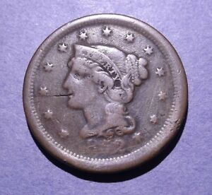 1852 BRAIDED HAIR LARGE CENT VG