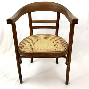 1939 WILLIAM BIRCH CANE WOOD CURVED LADDER BACK ARM CHAIR DANISH STYLE ENGLAND