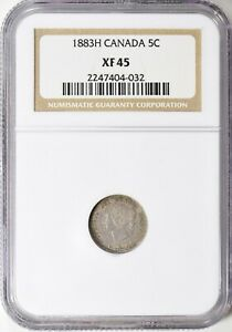 1883 H CANADA SILVER 5 CENTS NGC XF 45 5C