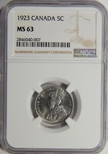 1923 CANADA 5 CENTS NGC MS 63 5C