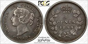 CANADA 1891 SILVER 5 CENTS KM 2 PCGS XF 45 CLASHED DIES ERROR