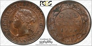 1900 CANADA LARGE CENT PCGS MS 63 BN 1C