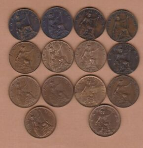 14 DIFFERENT FARTHINGS 1902 TO 1936 GOOD FINE TO LY FINE CONDITION
