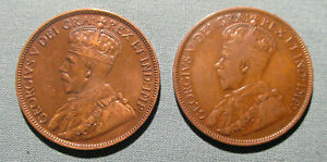 CANADA 1917 AND 1918 LARGE CENT    2  1 PENNY COIN GEORGE V