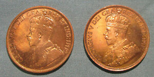 CANADA 1919 AND 1920 LARGE CENT    2  1 PENNY COIN GEORGE V