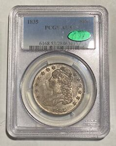 HALF DOLLARS CAPPED BUST LETTERED EDGE 1835 P PCGS AU 53  CAC