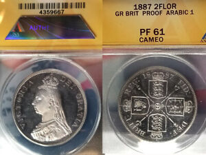 Click now to see the BUY IT NOW Price! GB  1887 DOUBLE FLORIN ARABIC 1  CAMEO PROOF ANACS PF 61 EST 1084 STRUCK