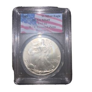 Click now to see the BUY IT NOW Price! 2001 AMERICAN SILVER EAGLE 911 WTC GROUND ZERO RECOVERY PCGS MS69 ERROR & FINGER