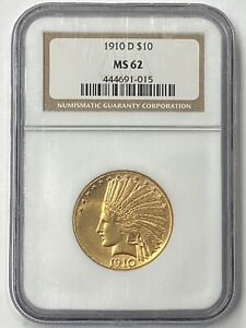 1910 D $10 INDIAN HEAD PRE 33 GOLD EAGLE NGC MS62 OLD HOLDER BEAUTY.