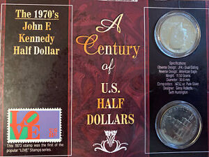 1970S A CENTURY OF U. S. HALF DOLLARS KENNEDY AND STAMP SET
