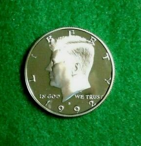 1992   S KENNEDY HALF DOLLAR PROOF SILVER DEEP CAMEO  BEAUTY      FREE  SHIPPING